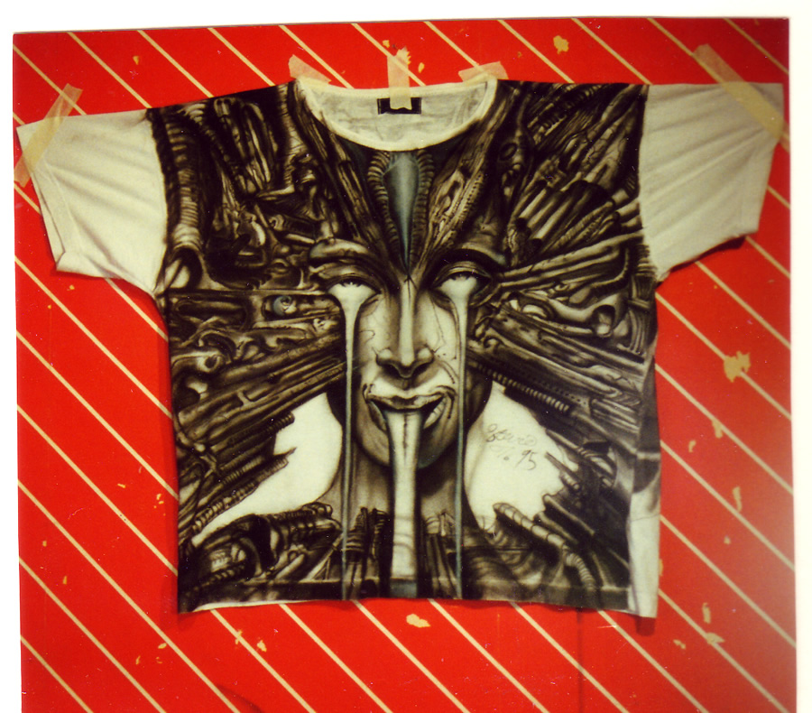 H.R. Giger painting on t-shirt